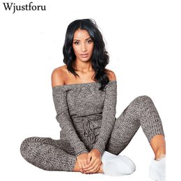 shoulder overall jumpsuits women NZ - Wjustforu Sexy Off Shoulder Jumpsuits Women Long Sleeve Casual Rompers Knitted Hole Jumpsuit Female Elastic Waist Overalls Y19060501