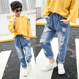 5859e8815c9b Kids Loose Pants Big Boys Stretch Joker Jeans 2019 Spring Children Pencil  Leggings Autumn Denim Clothes 4 to 14 Years Male Child