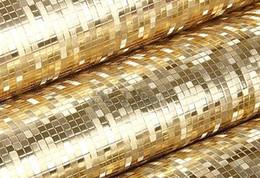 Plain Paper Rolls Australia - Waterproof PVC Reflective Glitter Paper golden Plain Gold Wallpaper Roll Texture Mosaic wedding wall coverings wang