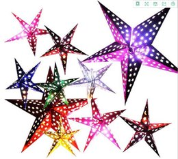 star layouts UK - Party decoration Christmas Ornament 30cm Paper five-star star lamp lampshade Christmas scene layout Paper Lanterns