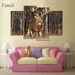 Golden Tree Painting Australia - 4pcs Animal Deers Canvas Prints Painting Modern Autumn Trees Golden Wall Art Home Decoration Picture for Chirtmas