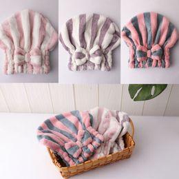 $enCountryForm.capitalKeyWord NZ - Microfibre Quick Hair Drying Bath Spa Bowknot Wrap Towel Hats Cap Bath Makeup Shell Shaped Hair Hat Towel