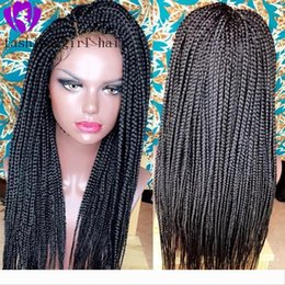 black women braided hair styles NZ - Fast shipping africa women style lace front braids wig full handmade Box Braids wig black ombre color Synthetic Braiding Hair wig