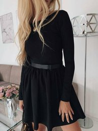 Club swing online shopping - 2020 Newest Hot Fashion Womens Casual Midi Swing Dress Ladies Sexy Sheath Long Sleeve Party Skater Dresses Spring Autumn Wear