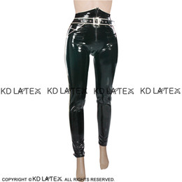 420ad2b53b5386 Black With White Sexy Latex Leggings With Zipper Front And Pockets Rubber  Pants Jeans Trousers Bottoms 0025