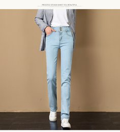 lake springs Canada - Lake Blue Spring New Straight Jeans Female Han Edition Student Wide-Legged Show Thin Leisure Relaxed High Waist Wide Leg
