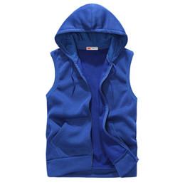 $enCountryForm.capitalKeyWord UK - Men Vest 2019 Summer Autumn Waistcosts Korean Style Slim No Sleeve Outwear Jacket Zipper Hooded Men's Solid Coat Pocket Vests