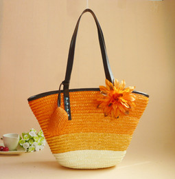 Hand Bags Flowers NZ - 2019 Hot Sale Summer Fashion Straw Beach Tote Bags Handbags Women Famous Brand Designer Flower Shoulder Hand Bag Handbag Bolsas Femininas