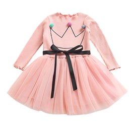 b62a0abd0a3b3f Baby Girls Clothes Long Sleeve Girls Dress Baby Kids Crown Splice Party  Princess Yarn Tutu Dress Toddler Girls dress O11 F