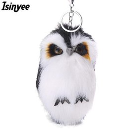 plush bunnies for wholesale NZ - ISINYEE 2017 Cute Fluffy Owl KeyChains For Women Pluff Toy Doll Bag Car Key Ring Handmade Faux Bunny Rabbit Fur Pompoms Keychain