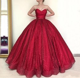 $enCountryForm.capitalKeyWord Australia - 2019 New Cheap Red Quinceanera Ball Gown Dresses Sequined Sweetheart Sleeveless Backless Puffy Party Plus Size Custom Prom Evening Gowns