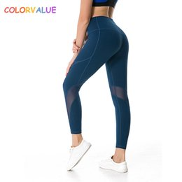 $enCountryForm.capitalKeyWord NZ - Colorvalue High Flexible Sport Fitness Leggings Women V-shape Push Up Butt Gym Athletic Tights Mesh Patchwork Yoga Workout Pants #185852