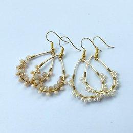 $enCountryForm.capitalKeyWord Australia - Fashion Bohemian Handmade earrings,Water Drop Metal Twine Pearl crystal Earring For Women Vintage Jewelry ER880