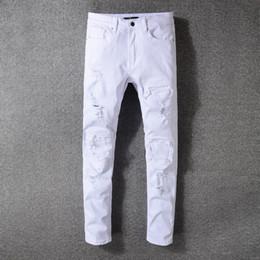 White Long Pants Men Australia - Fashion Men Ripped Long Jeans Causal White Mens Pants Outdoor Motorcycle Biker Pant Ripped Destroyed Strech Jeans LJJT622