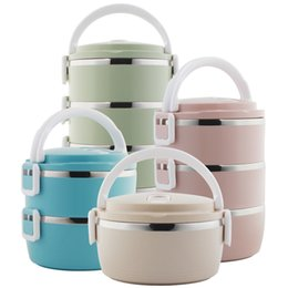 green box containers Australia - School Lunch Food Storage Container Bento Lunch Box Round Stainless Steel Thermos for Food with Containers for Kids Dropshipping D19010902