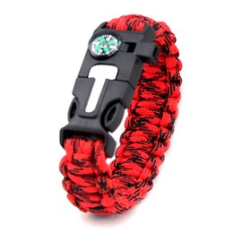 Rescue Whistles Survival Australia - Outdoor Survival Bracelet Braided Paracord Multi Tool for Travel Hiking Camping Rescue Emergency RopeBangles Compass Whistle