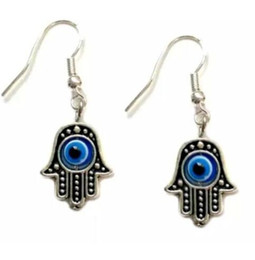 wholesale hamsa earrings Canada - Fashion 50 Pair Tibetan Silver Hamsa Hand Evil Eye Dangle Earrings Hook Earrings For Women Jewelry Party Drop Friendship Gift Party