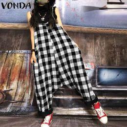$enCountryForm.capitalKeyWord NZ - Plus Size Rompers Womens Jumpsuit 2019 Autumn Vintage Harem Pants Plaid Print Long Playsuit Casual Loose Sleeveless Overalls Y19051501