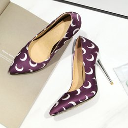 $enCountryForm.capitalKeyWord Australia - Hot Sale-New Sexy Stiletto Heel Suede Moon Printed Pointed Toe Women Pumps 100mm Fashion High Heels Shoes for Women Office Dress Shoes