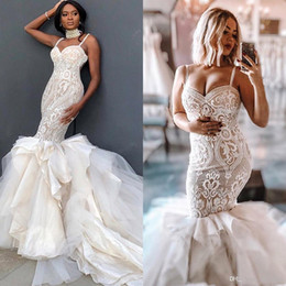 $enCountryForm.capitalKeyWord Australia - Plus Size Nude Mermaid Wedding Dresses 2019 Ivory Pattern Lace Applique Tiers Long Train Arabic Formal Bridal Wedding Gowns robes de soirée