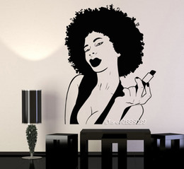 sexy halloween girls cartoons Australia - African Woman Black Lady Lips Stickers Pomade Makeup Vinyl Wall Decal Decor Salon Room Sexy And Hot Girl Wallpaper