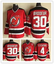 Brodeur Jersey Xl Australia - Vintage #30 Martin Brodeur Jersey New Jersey Devils 4 Scott Stevens Red 100% Stitched CCM Vintage Classic Hockey Jerseys