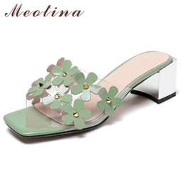 green thick heel shoes Canada - Meotina Women Slippers Flower Mid Heels Shoes Square Toe Thick Heel Slides Ladies Transparent Summer Sandals Green Plus Size 10
