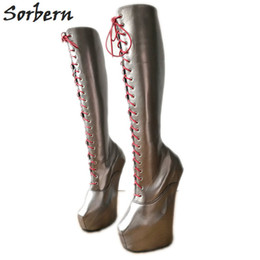 Fitted Boots Australia - Sorbern Grey Heavy Hoof Heelless Boots Knee High Thick Platform Custom Wide Fit Heels Sexy Fetish Boots Unisex Role Play Boots