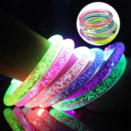decorations for boy birthday party NZ - Acrylic LED Dance Bangle Boys Girls Flashing Wrist Band Light Bracelets for Birthday Halloween Glowing Party Supplies