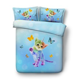 king queen size beds NZ - Unicorn Cat Duvet Cover Twin Girls Galaxy Bedding Queen Star Blue Bedspreads King Size Green Bedroom Decor 3 Piece Bedding Set