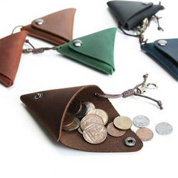 Handmade leatHer coin purse wHolesale online shopping - Vintage Genuine Leather Change Purse Coin Purse Mini Triangle Wallet Storage Bag Hash Handmade Pouches LJJP115