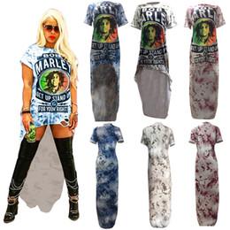 $enCountryForm.capitalKeyWord NZ - Women Rock Dresses Bob Marley Letter Floral Printed Long Dresses Irregular Hole T-shirt Dress Summer Woman Dovetail Short Skirt New C5901