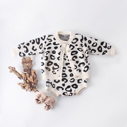 $enCountryForm.capitalKeyWord Australia - Baby Girls Set Leopard Knitted Cardigan + Romper 2pcs set Kids Designer Clothing INS Autumn Fashion Infant Romper Suit Clothes