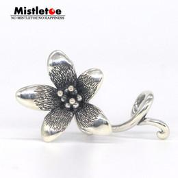 Sterling Silver Figaro Bracelet NZ - Mistletoe Jewelry Genuine 925 Sterling Silver Not Original Flower Troll Anemone Pendant Fit European Bracelet Without Bead C19041201