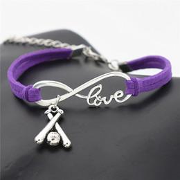 Alloy Bats Australia - Purple Woven Leather Rope Cuff Bracelets & Bangles Silver Alloy Infinity Love Cross 3D Baseball Bat Sports Charm Women Men Customize Jewelry