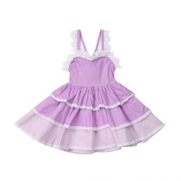 6732173ae19 Princess Flowers Holiday Boho Infant Baby Girls Dress Lace Ruffles Purple  Knee-Length Layered Dress Outfit 6M-5Y