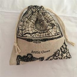 Cotton World Map Australia - YILE 1pc Map of the World Cotton Drawstring Bag Multi-purpose Organizer Pouch Party Gift Bag 190111b #534209