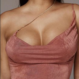 Wholesale Sexy One Shoulder Backless Top Halter Crop Top Strap Women Tube Tank Top Bustier Cropped Sleeveless Vest Tee Shirt