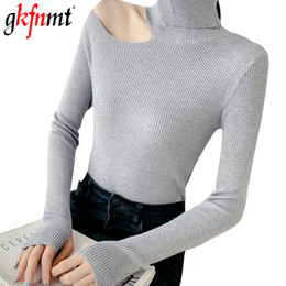sexy ladies sweaters Canada - Turtleneck Women Pullovers Sweater 2019 Knitting Autumn Winter Sexy Hollow Out Off Shoulder Casual Ladies Tops