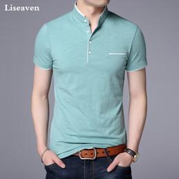 White T Shirt Red Collar Australia - Liseaven Men Mandarin Collar T-shirt Basic Tshirt Male Short Sleeve Shirt Brand New Tops&tees Cotton T Shirt Y19042005