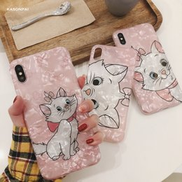 Nette Katze Rosa Marie Conch Shell-Telefon-Kasten für iphone 8-Fall für iphone 11 Pro XS MAX XR 6S 7 8Plus Back Cover Schöner Lustige Fall