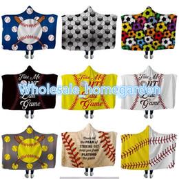 $enCountryForm.capitalKeyWord Australia - KIDS Baseball Hooded blanket Sherpa Softball Blanket Sports Theme Hooded Cape Soccer Bathing Towel Swadding Blankets