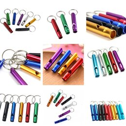 Wholesale Aluminum Alloy Whistle Keyring Mini For Outdoor Emergency Survival Safety Sport Camping Hunting Keychain random color