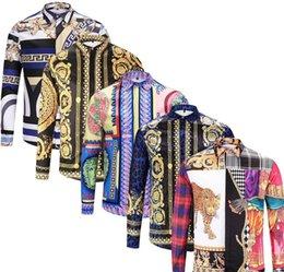 2019 nuovi uomini camice di affari del Mens camicia casuale camice di vestito a maniche lunghe Medusa Retro di lussocamicia VERSACE in Offerta