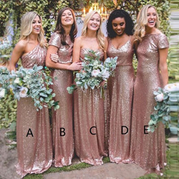 China 2019 Rose Gold Sequins Bridesmaid Dresses Gold Mermaid Different Neckline Ruffles Back Country Long Maid of Honor Bridesmaids Gowns BM0233 cheap same different dresses suppliers