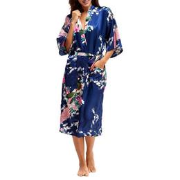 d80bf6f222 M-XXXL Woman Kimono Satin Silk Robe Lady Sexy Long Sleeve Nightgown Robes  Nightdress Elegant Women Animal Printed Nightwear Gown