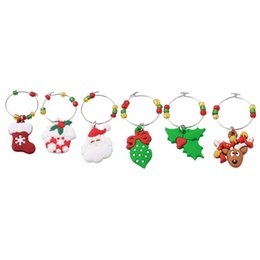wholesale glass christmas ornament NZ - 6Pcs set Christmas Wine Glass Decoration Charms Party Cup ring Table Decorations XMAS Tree Snowman Pendants Ring Decor EJ894455