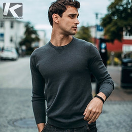 korean clothes sweater knits Australia - KUEGOU 2019 Autumn Solid Black Color Sweater Men Pullover Casual Jumper For Male Brand Knitted Korean Style Clothes 98001 SH190928