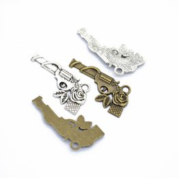 Wholesale guns roses online – design Bulk Gun Charms pendant with Rose flower mm good for DIY craft jewelry making
