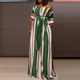maxi dress empire bohemian style Australia - African Ethnic Style Polka Dot Maxi Dress Women Green Stripe Loose Casual Big Swing Robe High Waist Lace Up Female Long Dresses Y19073001